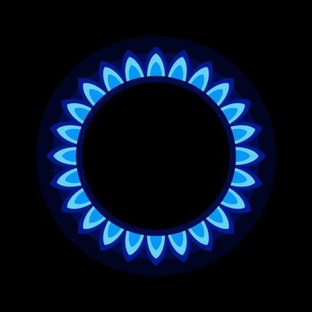 blue flame: Burner Gas Ring with Blue Flame on Dark Background.  Illustration