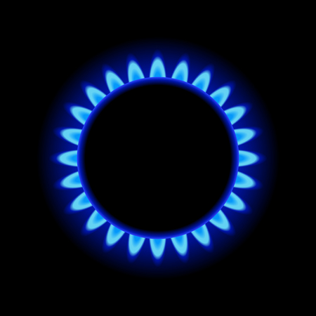 black: Burner Gas Ring with Blue Flame on Dark Background.  Illustration