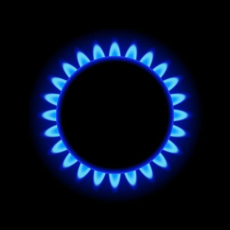 llamas de fuego: Quemador de anillo de gas con llama azul en fondo oscuro. Vectores