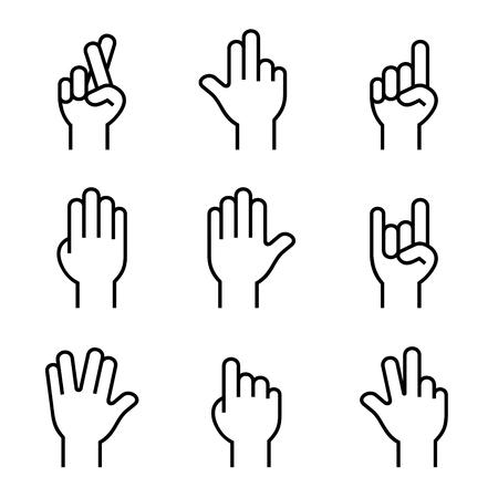 orando manos: Manos de conjunto de iconos en el fondo blanco. Vectores