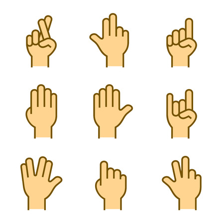 ok sign language: Hands Icons Set on White Background.