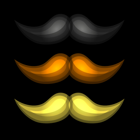 Brown, Black and Yellow Isolated Mustaches Set.