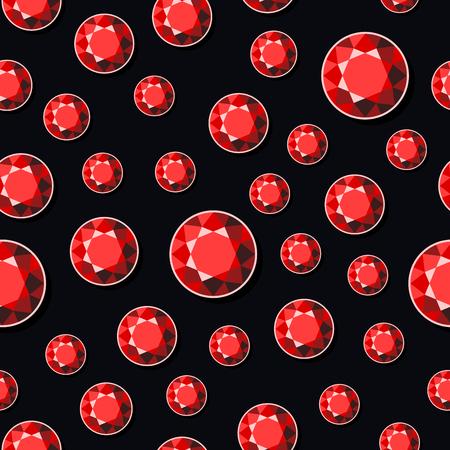 ruby stone: Luxury Dark Seamless Background with Red Diamonds. Vector illustration Illustration
