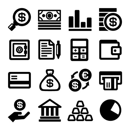toolbar: Business and Finance Icons Set. Vector illustration