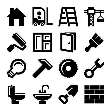 skid steer: Construction Icons Set on White Background. Vector illustration