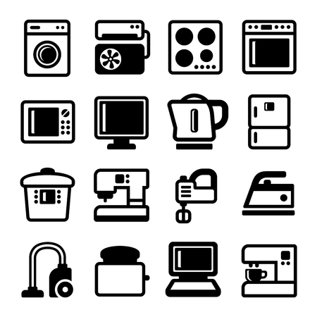 Household Appliances Icons Set on White Background. Vector illustration