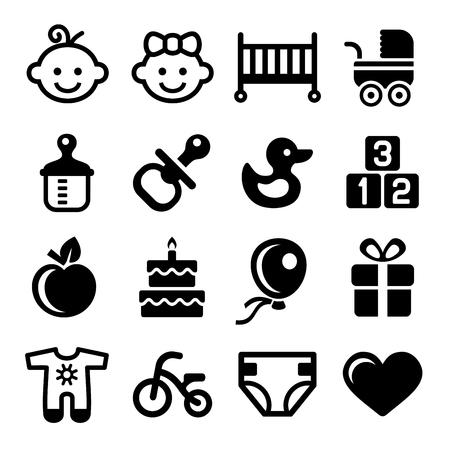 niños en bicicleta: Iconos del bebé fijado en blanco bsckground. Vector Vectores