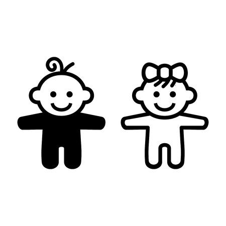 Ragazzo e ragazza dell'icona del bambino. illustrazione di vettore Archivio Fotografico - 48799523