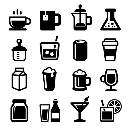 spirituous: Drinks Icons Set on White Background. Vector illustration
