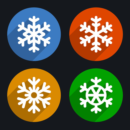 lightweight ornaments: Snowflakes Flat Style Icons Set. Vector illustration