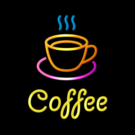 coffee hour: Neon Sign with Coffee Cup on Black Background.