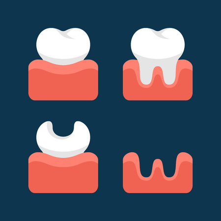 dirty teeth: Teeth  Icons Set for Dental Design.  Illustration