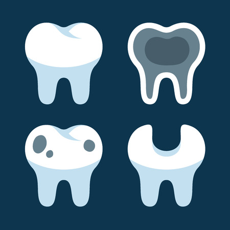 degeneration: Teeth with Different Dental Problems Icons Set.