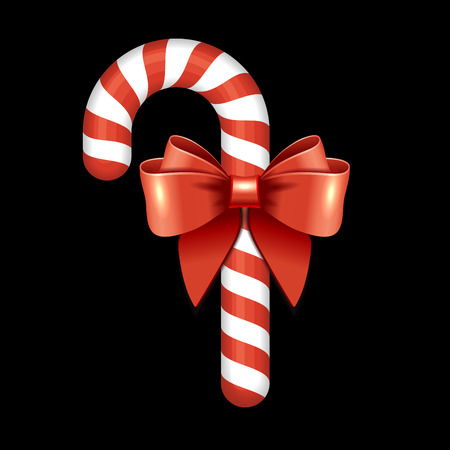 christmas candy: Christmas Candy Cane with Red Ribbon. Illustration