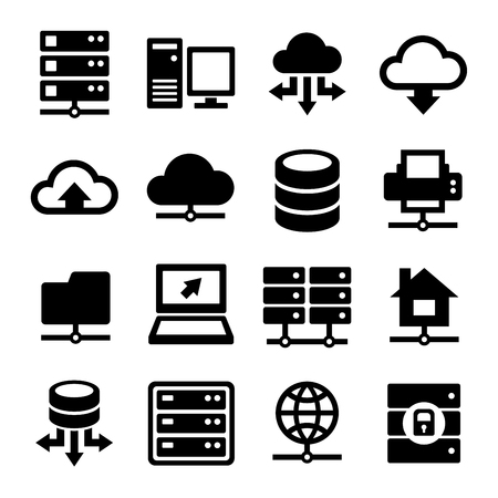 data center: Big Data Center and Server Icons Set. Vector illustration