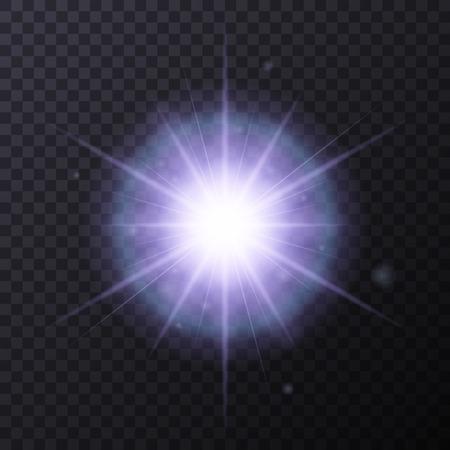 black star: Light Color Glow Flare Star Effect. Vector Illustration