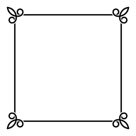 old frame: Black Border Vintage Frame on White Background. Vector illustration Illustration