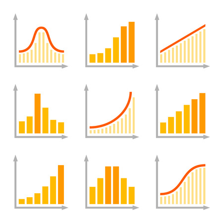 graphs and charts: Charts Diagrams and Graphs Flat Icons Set. Vector illustration