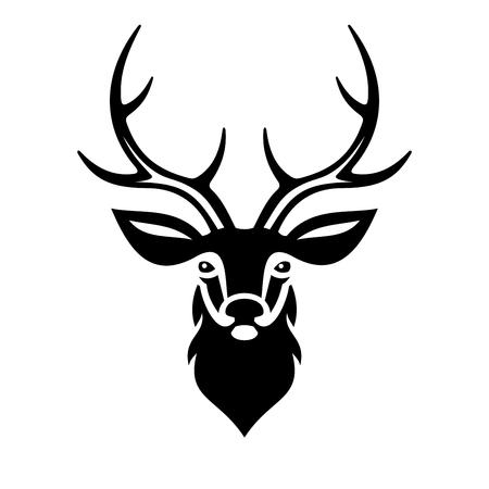 venado: Cabeza de los ciervos en el fondo blanco. ilustraci�n vectorial