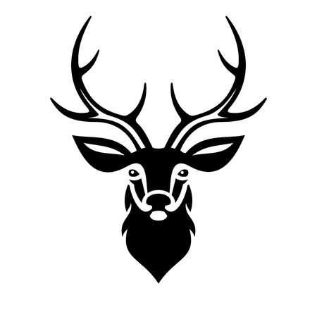 Deer Head on White Background. Vector illustration Çizim