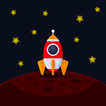booster: Space Rocket Landing on Mars. Vector illustration