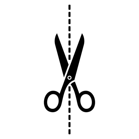 cut line: Scissors Icon with Cut Line on White Background. Vector illustration