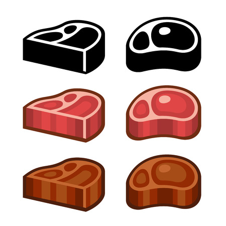 strip a cow: Beef Meat Steak Icons Set. Vector illustration
