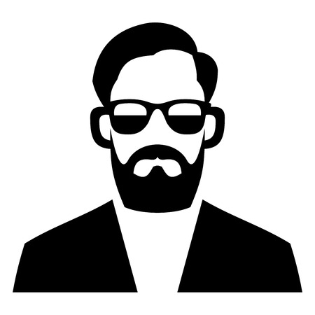 fashion glasses: Hipster Fashion Man Hair, Glasses and Beards. Vector illustration