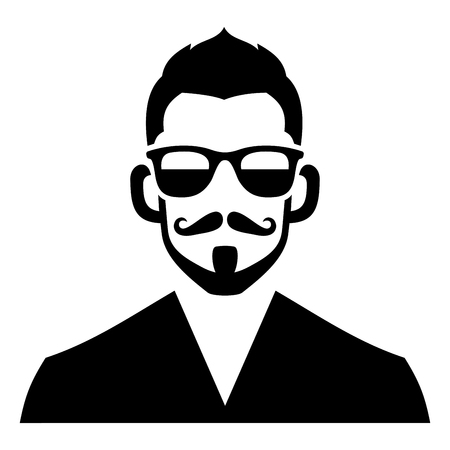 Hipster Fashion Man Hair, Glasses and Beards. Vector illustration