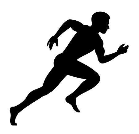 Runner Man Isolated Silhouette on White background. Vector illustration