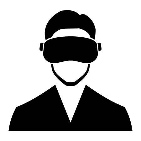 headset: Virtual Reality Headset Icon on White Background. Vector illustration