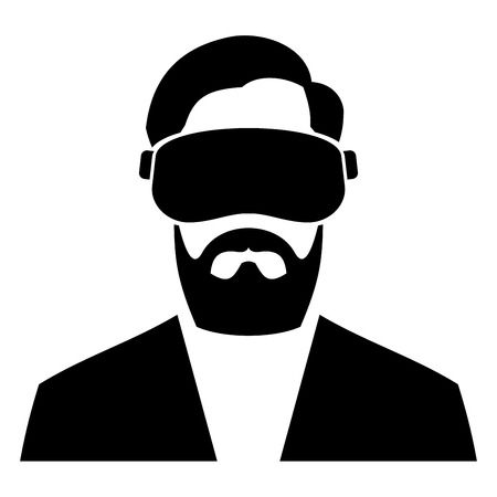 Virtual Reality Headset Icon on White Background. Vector illustration Stock Vector - 51871455