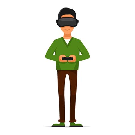 Gamer con Gamepad y Casco de Realidad Virtual en el fondo blanco. ilustración vectorial