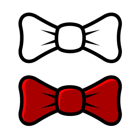 official wear: White and Red Bow Tie Icons, isolated on White Background. Vector illustration