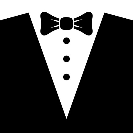 tux: Black Tuxedo with Bow Tie. Vector illustration Illustration