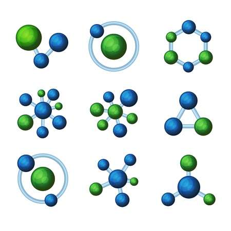 ball chains: Abstract Blue and Green Molecules Icon Set on White Background. Vector illustration