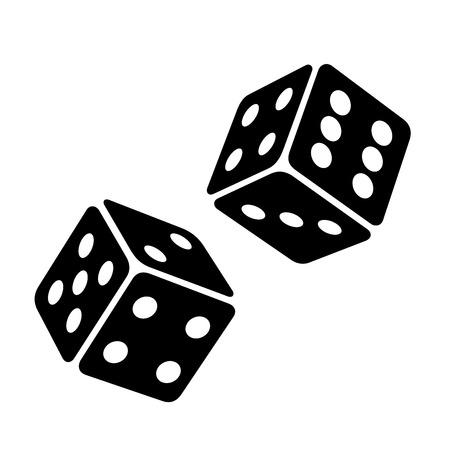 Black Dice Cubes on White Background. Vector illustration