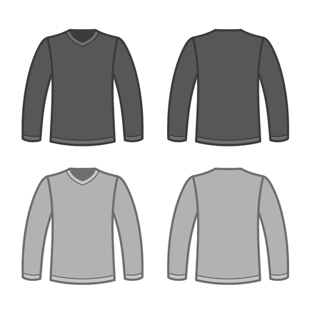 tshirts: Grey Men T-shirt Long Sleeved Shirts. Vector illustration