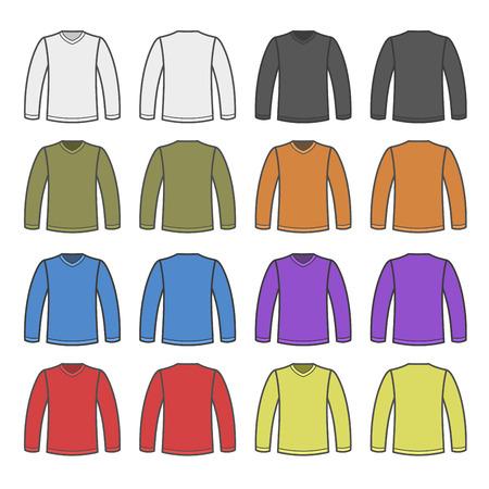 sleeved: Color Men T-shirt Long Sleeved Shirts Set. Vector illustration Illustration