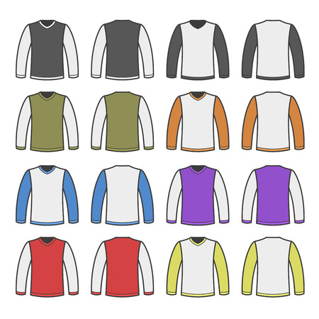 sleeved: Color Men T-shirt Long Sleeved Shirts Set. Vector illustration Illustration