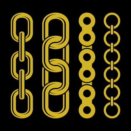 chain: Golden chain parts icons set on white background. Vector Illustration Illustration