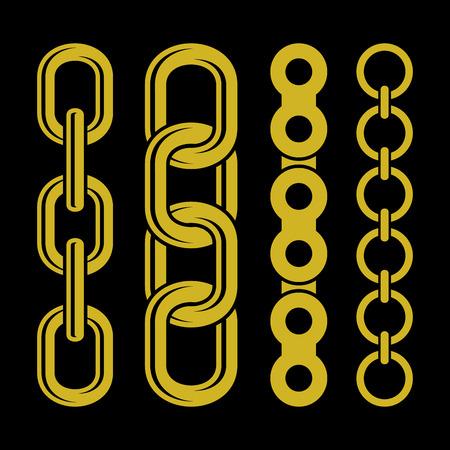 Iconos de piezas de la cadena de oro fijados en el fondo blanco. Ilustración del vector