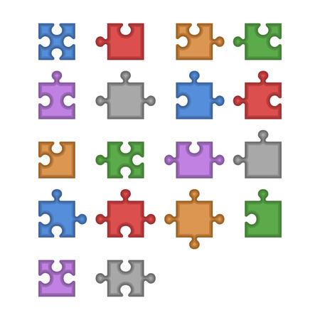 jigsaw set: Color Jigsaw Puzzle Blank Constructor. Total Parts Set. Vector illustration