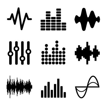 Musique Soundwave Icons Set sur fond blanc. Vector illustration