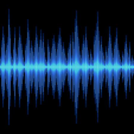 sonido: Azul de la onda de sonido en el fondo Negro. ilustración vectorial