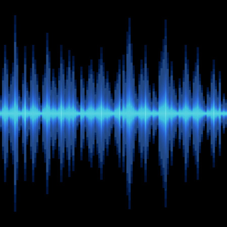 blue wave: Blue Sound Wave on Black Background. Vector illustration