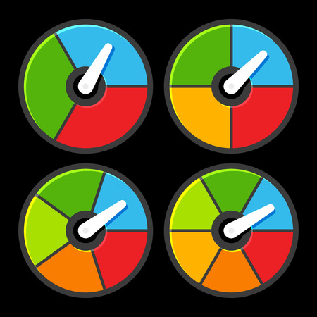 power meter: Circle Color Indicators Power Meter Set. Vector illustration Illustration