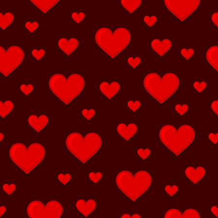 tilling: Red Hearts Seamless Background Pattern. Vector illustration