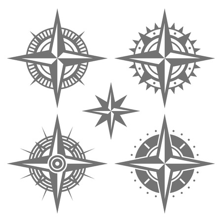 Wind Rose Retro Design Set. Vector illustration