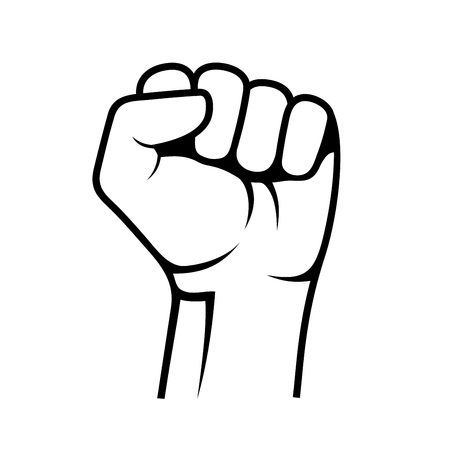 Raised Fist on White Background. Vector illustration Vettoriali
